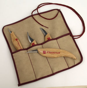 Flexcut 4 Knife Set with Tool Roll