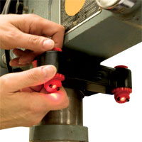 Has a alignment device that fits into the chuck of the drill press for alignment & calibration
