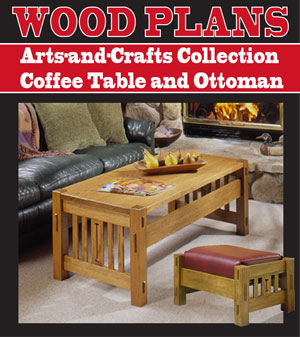 Arts-and-Crafts Collection Coffee Table and Ottoman