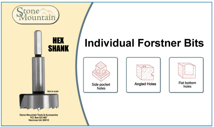 Stone Mountain Individual Hex Shank Forstner Bits