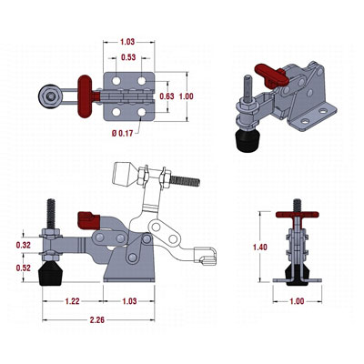 Mini T-Handle Toggle Clamp Drawing