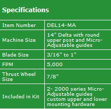 "Delta 14"" Micro-Adjust Specifications"