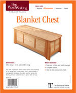 Peter Turner's blanket chest combines angled joinery with straight forward construction. The legs of the frame and panel chest serve as end pieces for the front, back, and end frames. Battens help keep the one-piece top flat. All thicknesses are beefy for heft, with double floating tenons for strength. To emphasize the length of the chest, the grain of the panels runs horizontally. To keep the construction manageable, all angles are the same, off from square by 3 degrees. Floating tenons make for secure angled joints with little fuss.