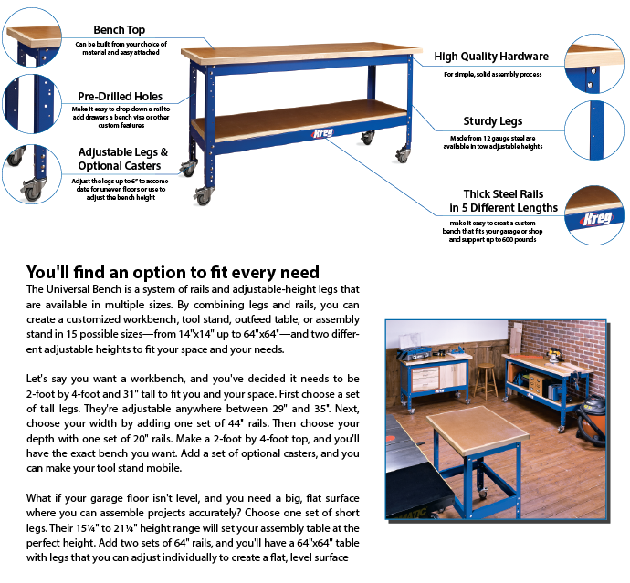 Kreg Universal Bench Package Details